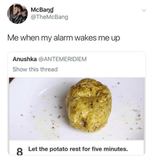 Meirl: McBang  @TheMcBang  Me when my alarm wakes me up  Anushka @ANTEMERIDIEM  Show this thread  8  Let the potato rest for five minutes. Meirl