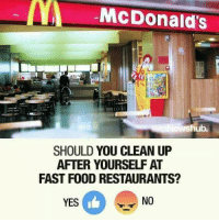 (y): McDonald's  hub.  SHOULD YOU CLEAN UP  AFTER YOURSELF AT  FAST FOOD RESTAURANTS?  YES  NO (y)