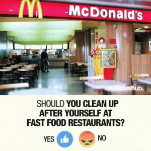 fast food restaurants: McDonald's  hub.  SHOULD YOU CLEAN UP  AFTER YOURSELF AT  FAST FOOD RESTAURANTS?  YES  NO