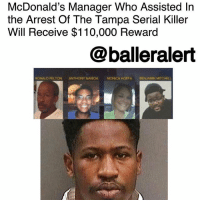 "Andrew Bogut, Community, and McDonalds: McDonald's Manager Who Assisted In  the Arrest Of The Tampa Serial Killer  Will Receive $110,000 Reward  @balleralert  RONALD FELTON ANTHONY NAIBOA MONCA HOFFA BENJAMIN MITCHELL McDonald's Manager Who Assisted In the Arrest Of The Tampa Serial Killer Will Receive $110,000 Reward – blogged by @MsJennyb ⠀⠀⠀⠀⠀⠀⠀⠀ ⠀⠀⠀⠀⠀⠀⠀⠀ Earlier this week, the man responsible for the Tampa murders was caught thanks to a McDonald's manager, who handed over a key piece of evidence that connected 24-year-old Howell Donaldson III to the series of murders. ⠀⠀⠀⠀⠀⠀⠀⠀ ⠀⠀⠀⠀⠀⠀⠀⠀ As a result, Donalda Walker will receive a $110,000 reward for her tip that led to the arrest of the Tampa serial killer. Several organizations have offered rewards, which vary in amounts and Walker will receive ""every penny."" ⠀⠀⠀⠀⠀⠀⠀⠀ ⠀⠀⠀⠀⠀⠀⠀⠀ ""Looking back, I am grateful to know I was helpful in assisting law enforcement,"" Walker said of her good deed. ""I hope you can understand that out of respect for the continuing investigations as well as the victims and their families, I will not be answering questions. But please know I appreciate all the well wishes and the kind words of our community."" ⠀⠀⠀⠀⠀⠀⠀⠀ ⠀⠀⠀⠀⠀⠀⠀⠀ According to reports, the murders took place between October and November in the city's Seminole Heights neighborhood. Three of the four murders were committed within 11 days, while the fourth occurred more than a month after the first. After a two-month search, Donaldson, who was an employee at the same McDonald's that Walker managed, arrived at the establishment and gave Walker a McDonald's bag to hold for safe keeping. Shortly after, Walker turned over the bag, which contained the gun used in the four murders, to the police. She also told officials of Donaldson's plan to leave the state, reports state. ⠀⠀⠀⠀⠀⠀⠀⠀ ⠀⠀⠀⠀⠀⠀⠀⠀ Although Donaldson admitted to owning the gun, he did not confess to the four murders. However, he faces four counts of first-degree murder."