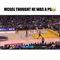 Basketball, Nba, and Sports: MCGEE THOUGHT HE WAS A PG  ATCH  LAL 28 A GS  2nd 7:32 16 Shaqtinafool MVP😂 nba nbamemes javalemcgee Via @NBA