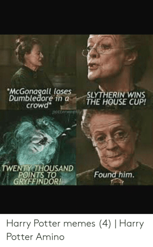 Hehe...found this funny...: McGonagall loses  Dumbledore in a  crowd  SLYTHERIN WINS  THE HOUSE CUP!  porterweekiy  TWENTY THOUSAND  POINTS TO  GRYFFINDOR!  Found him.  Harry Potter memes (4) | Harry  Potter Amino Hehe...found this funny...