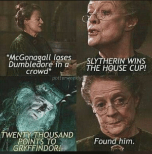 r/harrypottermemes: McGonagall loses  Dumbledore in a  crowd*  SLYTHERIN WINS  THE HOUSE CUP!  potterweekly  TWENTY THOUSAND  POINTS TO  GRYFFINDOR!  Found him. r/harrypottermemes