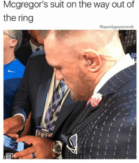 ok night: Mcgregor's suit on the way out of  the ring  @openlygayanimals ok night