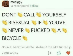 Bicycle, Bisexual, and Never: mcsiggy  roachpatrol Follow  DONT CALL YOURSELF  YOUVE  BISEXUAL U IF  NEVER FUCKEDA  BICYCLE  Source: benaffleckswife #what if the bike fucked yt  7,834 notes