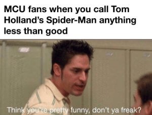 Mcu fan, it was just a joke: MCU fans when you call Tom  Holland's Spider-Man anything  less than good  Think you re pretty funny, don't ya freak? Mcu fan, it was just a joke