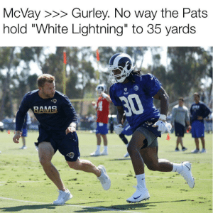 "Memes, Lightning, and Rams: McVay >>> Gurley. No way the Pats  hold ""White Lightning"" to 35 yards  RAMS My guy has a full step on Gurley and the balls to taunt him mid-race. Gurley has to retire after this picture"