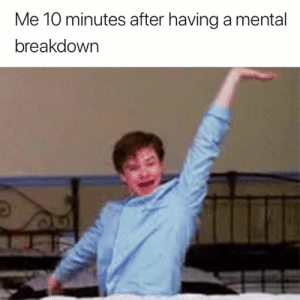 Hello, World, and Breakdown: Me 10 minutes after having a mental  breakdown Hello world 💁♀️😅