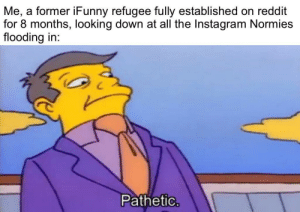 "Shamelessly jumping on the ""Instagram Bad"" bandwagon: Me, a former iFunny refugee fully established on reddit  for 8 months, looking down at all the Instagram Normies  flooding in:  Pathetic. Shamelessly jumping on the ""Instagram Bad"" bandwagon"
