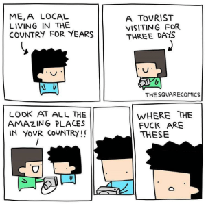 Dank, Memes, and Target: ME,A LOCAL  LIVING IN THE  COUNTRY FOR YEARS  A TOURIST  VISITING FOR  THREE DAYS  THESQUARECOMICS  WHERE THE  FUCK ARE  THESE  LOOK AT ALL HE  AMAZING PLACES  IN YOUR COUNTRY!! Those bastards lied to us! by Hushamusha_64 MORE MEMES