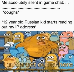 This is what happened officer.: Me absolutely silent in game chat: ...  *coughs*  *12 year old Russian kid starts reading  out my IP address*  OC  gotta get out of here This is what happened officer.
