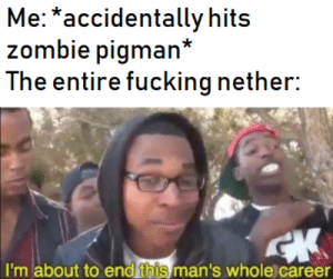 Bad, Fucking, and Zombie: Me: *accidentally hits  zombie pigman*  The entire fucking nether:  I'm about to end this man's whole) career pig man bad