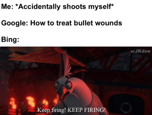 good idea: Me: *Accidentally shoots myself*  Google: How to treat bullet wounds  Bing:  u/JKdoe  Keep firing! KEEP FIRING! good idea