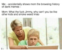 """Be Like, Dank, and Meme: Me: accidentally shows mom the browsing history  of dank memes  Mom: What the fuck Jimmy, why can't you be like  other kids and smoke weed Imao <p>Damn jimmy via /r/dank_meme <a href=""""http://ift.tt/2xqK6oD"""">http://ift.tt/2xqK6oD</a></p>"""