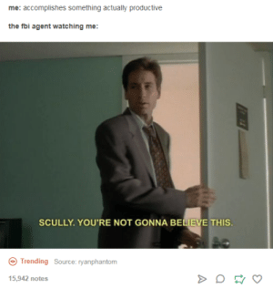 Fbi, Character, and Source: me: accomplishes something actually productive  the fbi agent watching me:  SCULLY. YOU'RE NOT GONNA BELIEVE THIS.  Trending Source: ryanphantom  5,942 notes Character Development