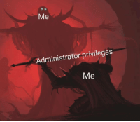 Privileges, Bestow, and Administrator: Me  Administrator privileges  Me I bestow upon thyself