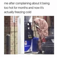 Memes, Today, and Cold: me after complaining about it being  too hot for months and now it's  actually freezing cold This was me today ❄️ Follow the fabulous @thespeckyblonde @thespeckyblonde @thespeckyblonde @thespeckyblonde