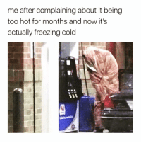 Funny, Shit, and Winter: me after complaining about it being  too hot for months and now it's  actually freezina cold I'm not ready for this winter shit yet😳😩