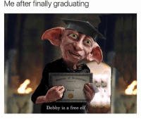 So real 😂😂😂: Me after finally graduating  ura of drauaton  piulama of  Dobby is a free elf So real 😂😂😂