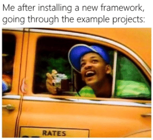 Programmer Humor, Examples, and First: Me after installing a new framework,  going through the example projects:  RATES But first look at the examples