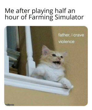 Dammit these games are making me a deranged psychopath.: Me after playing half an  hour of Farming Simulator  father, i crave  violence  ngiip.com Dammit these games are making me a deranged psychopath.