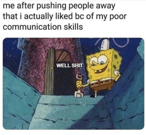 Meirl: me after pushing people away  that i actually liked bc of my poor  communication skills  WELL SHIT Meirl