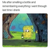 Memes, Snapchat, and Time: Me after smelling a bottle and  remembering everything i went through  last time i drank Snapchat: dankmemesgang
