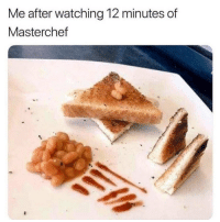 me after following like 5 food accounts: Me after watching 12 minutes of  Masterchef me after following like 5 food accounts