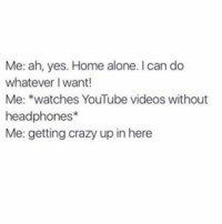 Home Alone, Memes, and Headphones: Me: ah, yes. Home alone. can do  whatever I want!  Me: watches YouTube videos without  headphones  Me: getting crazy up in here tag your friends