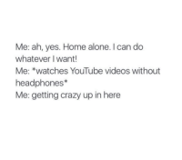 Crazy, Home Alone, and Memes: Me: ah, yes. Home alone. can do  whatever I want!  Me: *watches YouTube videos without  headphones  Me: getting crazy up in here
