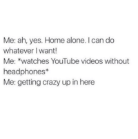 Home Alone, Memes, and Headphones: Me: ah, yes. Home alone. I can do  whatever I want!  Me: *watches YouTube videos without  headphones  Me: getting crazy up in here My idea of crazy