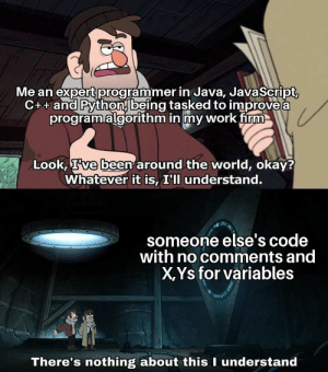 Work, Java, and Okay: Me an expert programmer in Java, JavaScript,  C++ and Python being tasked to improve a  programalgorithm in my work firm  Look, Tve been around the world, okay?  Whatever it is, I'll understand.  someone else's code  with no comments and  X,Ys for variables  There's nothing about this I understand It happens ngl
