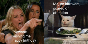 Birthday, Introvert, and Reddit: Me, an introvert,  scared of  attention  Everyone  wishing me  happy birthday Help me, I hate people