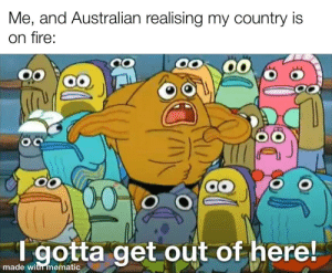 Please donate it's scary: Me, and Australian realising my country is  on fire:  00  00  T gotta get out of here!  made with mematic Please donate it's scary