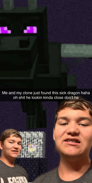 Reddit, Shit, and Sick: Me and my clone just found this sick dragon haha  oh shit he lookin kinda close don't he  FOF New friend