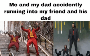 Dad, Memes, and Running: Me and my dad accidently  running into my friend and his  dad https://t.co/gmmp73Vms5