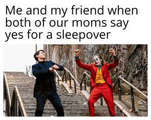 Truly Epic Moment: Me and my friend when  both of our moms say  yes for a sleepover Truly Epic Moment