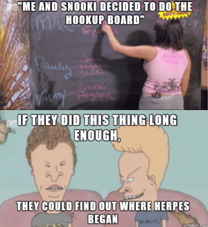 Beavis and Butthead still have it - Meme Guy: ME AND SNOOKI DECIDED TO DOTHE  HOOKUP BOARDww  aul  IF  ENOUGH  THEY COULD FIND OUT WHERE  BEGAN  HERPES  made on inUr Beavis and Butthead still have it - Meme Guy