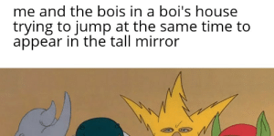 True, History, and House: me and the bois in a boi's house  trying to jump at the same time to  appear in the tall mirror based on a true history
