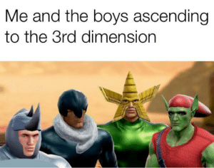 Dank, Memes, and Target: Me and the boys ascending  to the 3rd dimension Not smiling about it though by trelee94 MORE MEMES