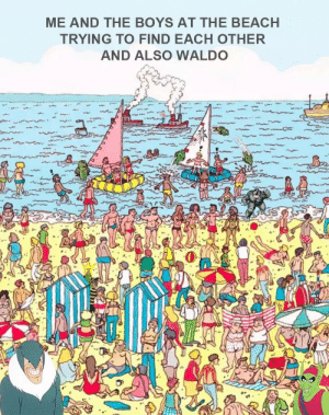 Reddit, Beach, and Boys: ME AND THE BOYS AT THE BEACH  TRYING TO FIND EACH OTHER  AND ALSO WALDO Me in the boys in the beach trying to spot waldo