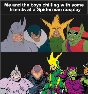 Friends, Reddit, and Cosplay: Me and the boys chilling with some  friends at a Spiderman cosplay  u/sagachisan  ..  u/sagachisa  ασαehι We're better cosplayer than you tho