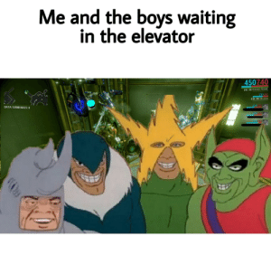 Waiting..., Boys, and Rhino: Me and the boys waiting  in the elevator  450740  LVL 30 RHINO PRIME  350200  LVL 30 HELIOS  420399  DATA TERMINALS: 0  /0620  700190  16 Dead but ok?