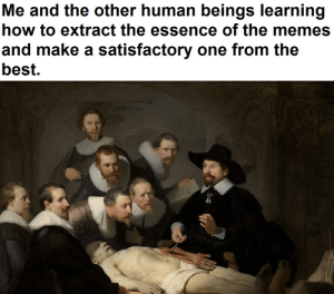 Learning from the best.: Me and the other human beings learning  how to extract the essence of the memes  and make a satisfactory one from the  best. Learning from the best.