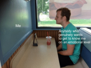 Who, Level, and Get: Me  Anybody who  genuinely wants  to get to know me  on an emotional level