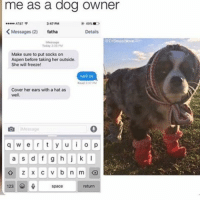 Memes, Aspen, and At&t: me as a dog owner  AT&T  347 PM  K Messages (2) fatha  Details  Make sure to put socks on  Aspen before taking her outside.  She will freeze!  Cover her ears with ahat as  well,  q w e r t y u i o p  a s d f g h j k  z x c v b n m  123 ty for 2k <3
