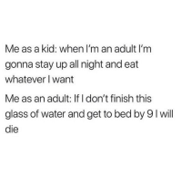"Drinking, Memes, and Tbh: Me as a kid: when I'm an adult I'm  gonna stay up all night and eat  whatever I want  Me as an adult: If I don't finish this  glass of water and get to bed by 9I will  die Honestly drinking water before bed fucks you because you're also up peeing all night and tbh it's the worst when you do that ""don't open your eyes"" shimmy shuffle to the bathroom in the middle of night and try to rush back before waking up too much. 😂😭 (@bigkidproblems)"