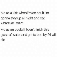 Hangover, Water, and Girl Memes: Me as a kid: when I'm an adult I'm  gonna stay up all night and eat  whatever I want  Me as an adult: If I don't finish this  glass of water and get to bed by 9 I will  die I'm still trying to beat that hangover from 3 weeks ago