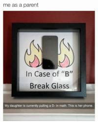 "B: me as a parent  In Case  of ""B""  Break Glass  My daughter is currently pulling a D- in math. This is her phone."