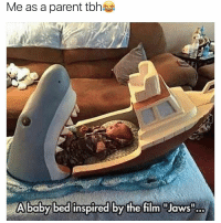 "Af, Funny, and Goals: Me as a parent tbhs  A baby bed inspired by the film ""Jaws"" Parenting goals af😂😂😂 girlsthinkimfunnytwitter"